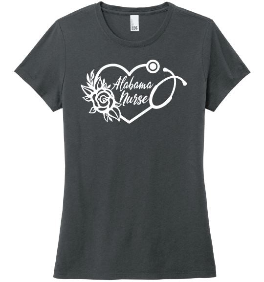 Alabama Nurse with Heart Stethoscope and Rose For Women T-shirts Made 4 Healers Charcoal Small