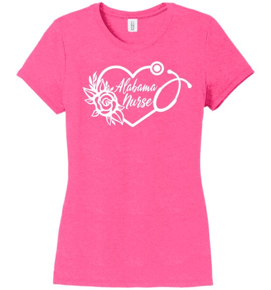 Alabama Nurse with Heart Stethoscope and Rose For Women T-shirts Made 4 Healers Fucshia Frost Small