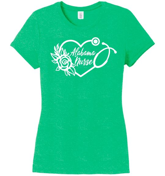 Alabama Nurse with Heart Stethoscope and Rose For Women T-shirts Made 4 Healers Green Frost Small