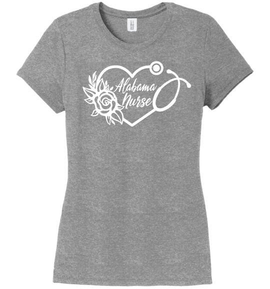 Alabama Nurse with Heart Stethoscope and Rose For Women T-shirts Made 4 Healers Grey Frost Small