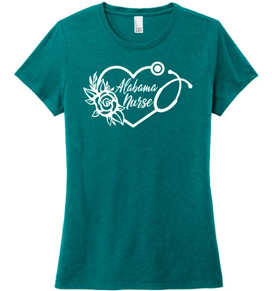 Alabama Nurse with Heart Stethoscope and Rose For Women T-shirts Made 4 Healers Heathered Teal Small