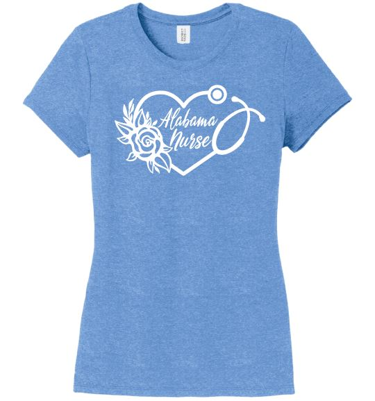 Alabama Nurse with Heart Stethoscope and Rose For Women T-shirts Made 4 Healers Maritime Frost Small