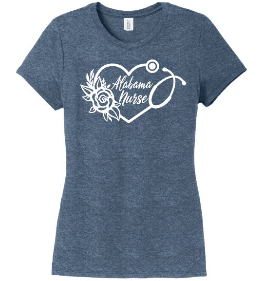 Alabama Nurse with Heart Stethoscope and Rose For Women T-shirts Made 4 Healers Navy Frost Small