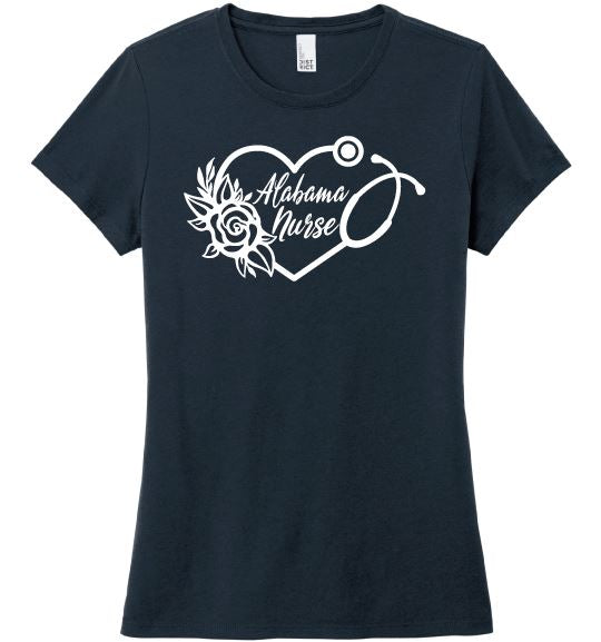Alabama Nurse with Heart Stethoscope and Rose For Women T-shirts Made 4 Healers New Navy Small