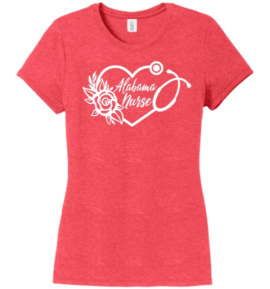 Alabama Nurse with Heart Stethoscope and Rose For Women T-shirts Made 4 Healers Red Frost Small