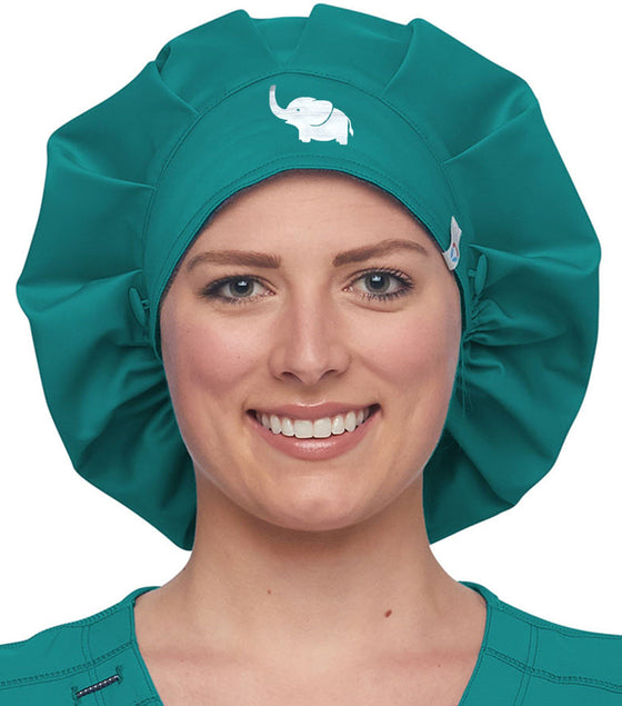 Elephant on Cherokee WW508AB Bouffant Scrub Hat Scrub Hats Made 4 Healers Teal Blue