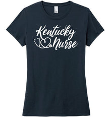 Kentucky Nurse with Heart-shaped Stethoscope T-shirt For Women T-shirts Made 4 Healers New Navy Small