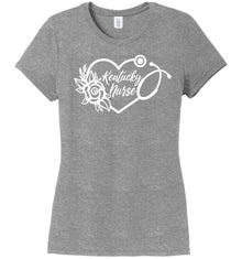 Kentucky Nurse with Heart Stethoscope and Rose For Women T-shirts Made 4 Healers Grey Frost Small