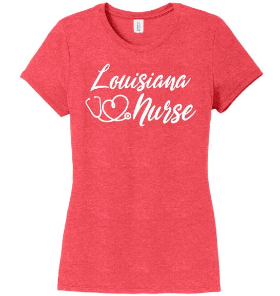 Louisiana Nurse with Heart-shaped Stethoscope T-shirt For Women T-shirts Made 4 Healers Red Frost Small