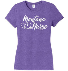 Montana Nurse with Heart-shaped Stethoscope T-shirt For Women T-shirts Made 4 Healers Purple Frost Small