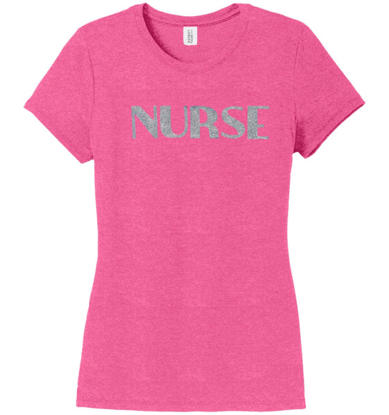 Nurse T-shirts For Women T-shirts Made 4 Healers Fucshia Frost Small