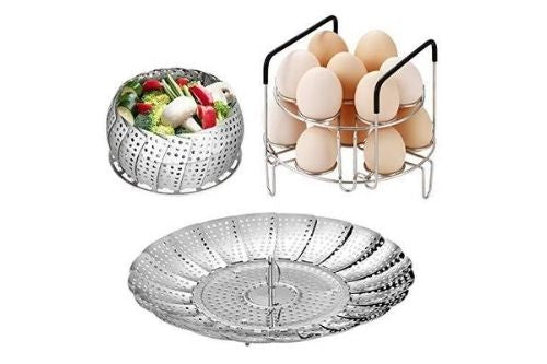 Roonoo Adjustable Food Steamer Basket & Stackable Egg Steamer Rack Trivet Set with Heat Resistant Handles, Stainless Steel Vegetable Basket Steamer 14 Eggs Holder For Instant Pot Accessories 6/8 Qt