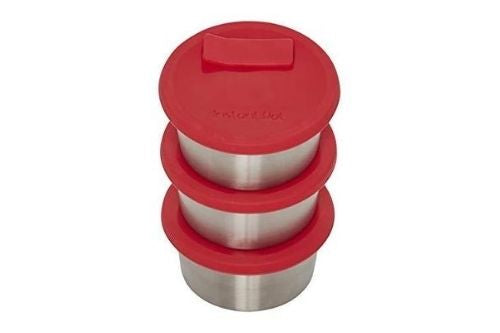 Instant Pot Official Stainless Steel Baking Cups with Silicone Lids, Set of 3, Red