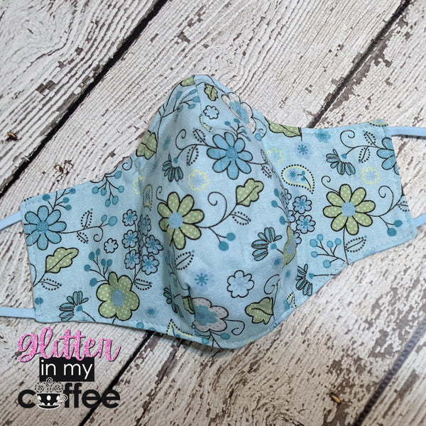 Fitted Mask - Medium - Blue Floral