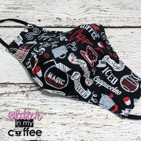 Fitted Mask - Medium - Cup of Heaven Coffee Print