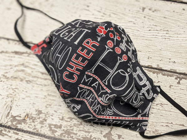 Semi-Fitted Mask - Regular - Chalkboard Holiday Words