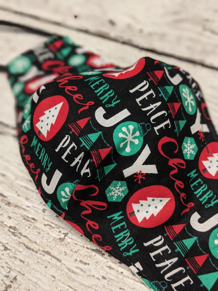 Fitted Mask - Medium - Holiday Joy Black