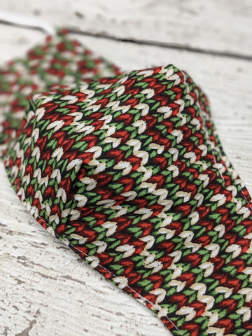 Fitted Mask - Medium - Holiday Knit Fabric