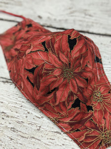 Fitted Mask - Medium - Red Poinsettias
