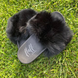 Noir Fur Slides