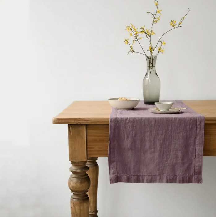 linen table runner - rosewood