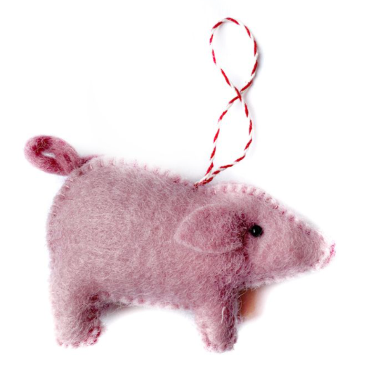 Wool Felt Ornament - Pig