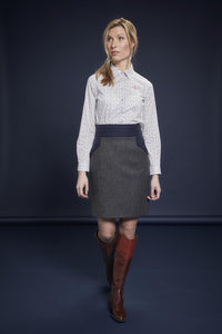Norah Tweed Skirt - Navy Teal Herringbone