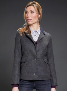 Donna Tweed Jacket - Navy Teal Herringbone