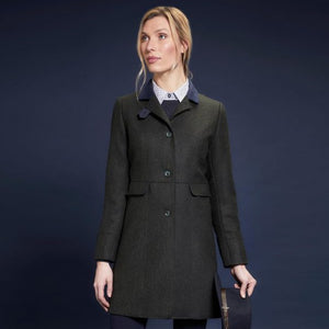 Pamela Tweed Coat - Green Herringbone