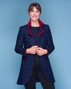 Sinead Tweed Coat - Primary Navy