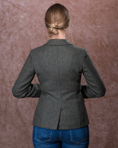Tara Tweed Hacking Jacket - Olive Teal Herringbone