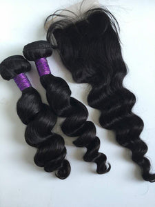 Body loose wave hair bundle with closure