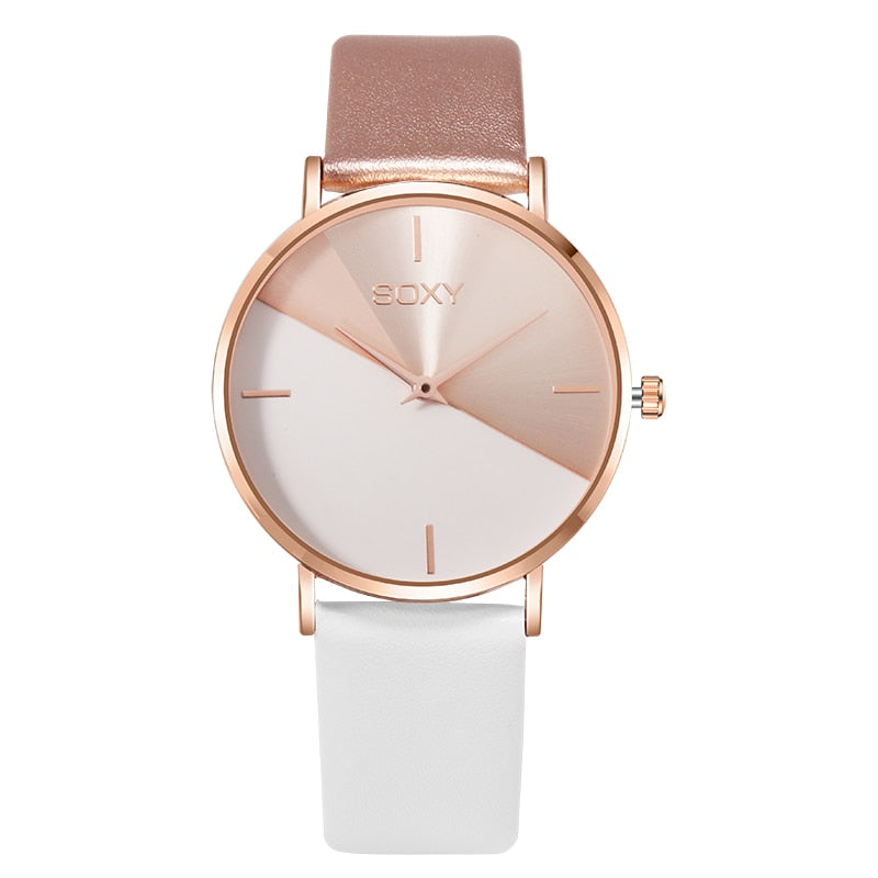 brand women's watch leather rose gold