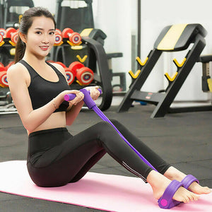 Indoor Fitness Resistance Bands Pull Rope 4 Tube Pedal Ankle Puller D30