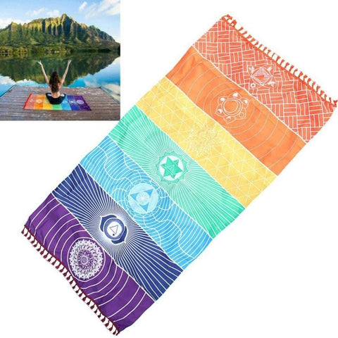 "Meditation Yoga Rug Towels Mexico Chakras Tassel Striped Floor Mat Tapestry 59""x27"""