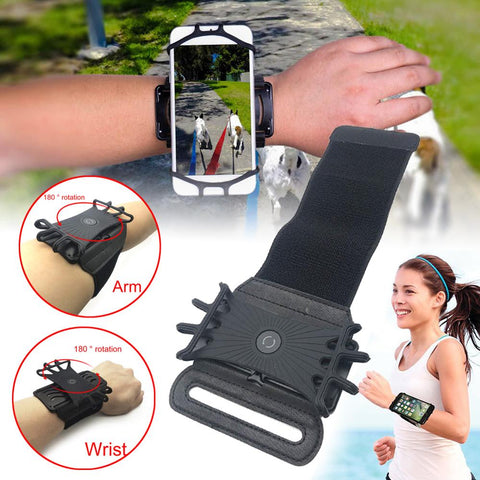 Universal mobile phone holder wristband 180 rotation running sports wristband mobile phone storage sports fitness accessories