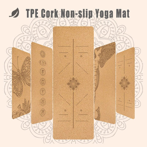 Absorb Sweat Odorless 6mm TPE Natural Cork Yoga Mat