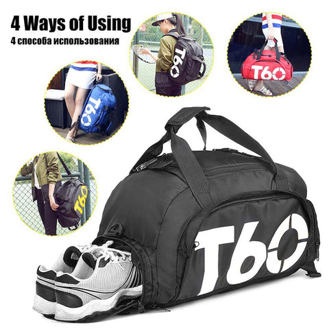 Image of Waterproof Gym Sports Bag Men Women Fitness Bag Training Backpacks with Strips Pouch Rucksack Travel Bags Outdoor T60