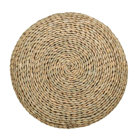 Tatami Futon Meditation Cushion Thickening Yoga Circle Corn Husk Straw Braid Mat Japanese Style Cushion with Silk Wadding