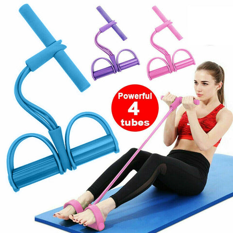 Image of Indoor Fitness Resistance Bands Pull Rope 4 Tube Pedal Ankle Puller D30
