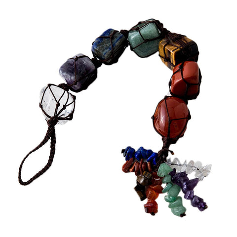 7 Chakra Car Hanging Decoration Reiki Irregular Healing Crystal Tassel