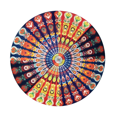 Round Indian Mandala Beach Towel Hippie Boho Gypsy Blanket Meditation Yoga Mat for Home Hotel Bedroom Decoration