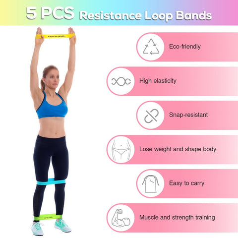 Image of Pack of 5 Resistance Loop Bands with Carry Bag