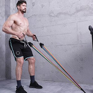 11PCS AND 13PCS Latex Resistance Exercise Bands Gym Kit