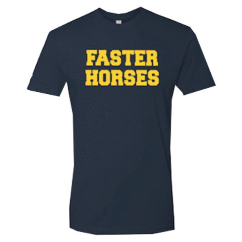 Navy Faster Horses College Tee