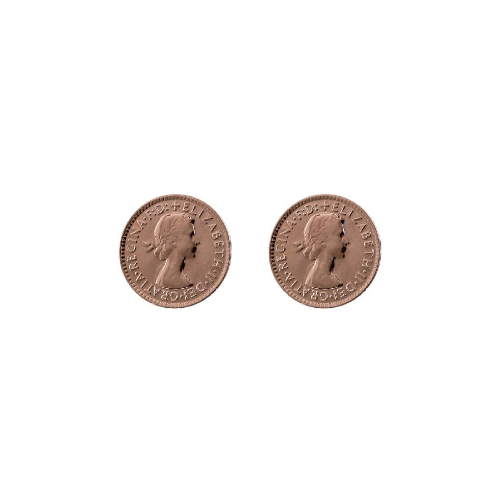 VON TRESKOW THREEPENCE STUD EARRINGS