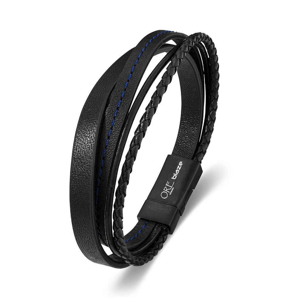 OSS BLAZE BLACK LEATHER BANGLE