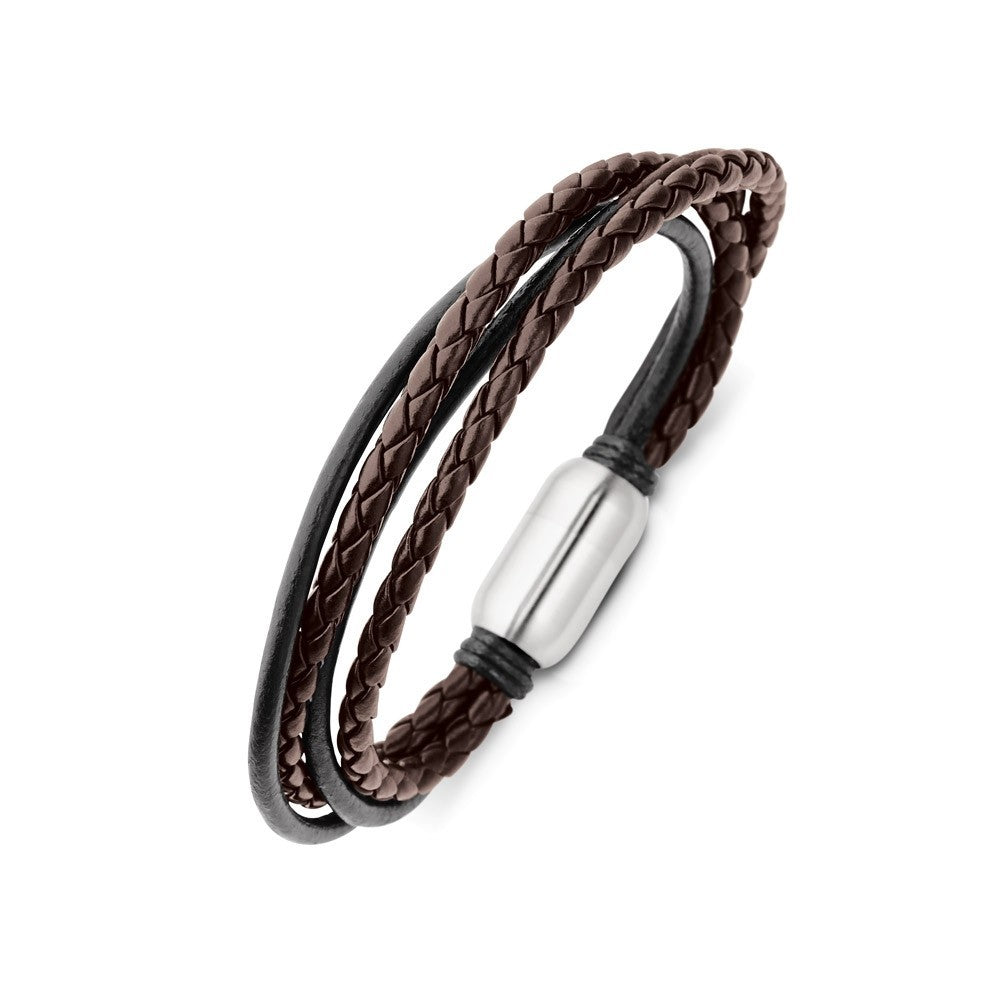 SSBG132 BLACK & BROWN 4 STRAND MENS LEATHER CUFF