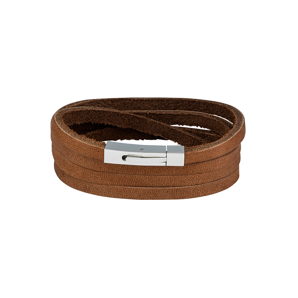 BLAZE TAN LEATHER WRAP BANGLE