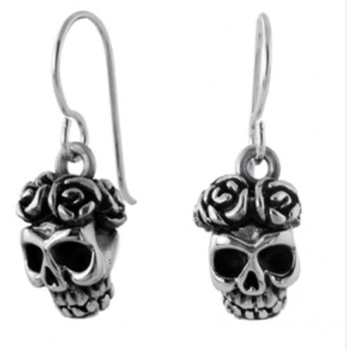 MEXICAN HAND MADE SILVER SKULL W FLOWERS DROP EARRINGS